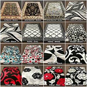 LARGE-RUG-RUNNER-HERITAGE-MODERN-BLACK-WHITE-GREY-QUALITY-RUGS-LOW-SALE-PRICE