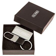 Money Clip & Leather Key Ring Keychain Set in a Stylish Gift Box - Slim Light Al