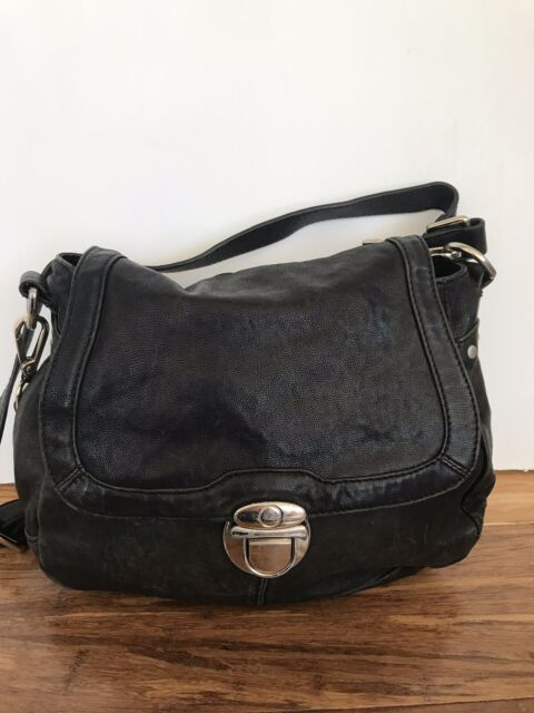 🎈 SPORTSCRAFT GENUINE BLACK LEATHER cross Body Shoulder Satchel Bag Medium