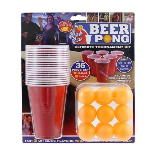 36 pc BEER PONG Drinking Game Set Cups Balls Party Kit Pub Ping Men Man Fun Gift