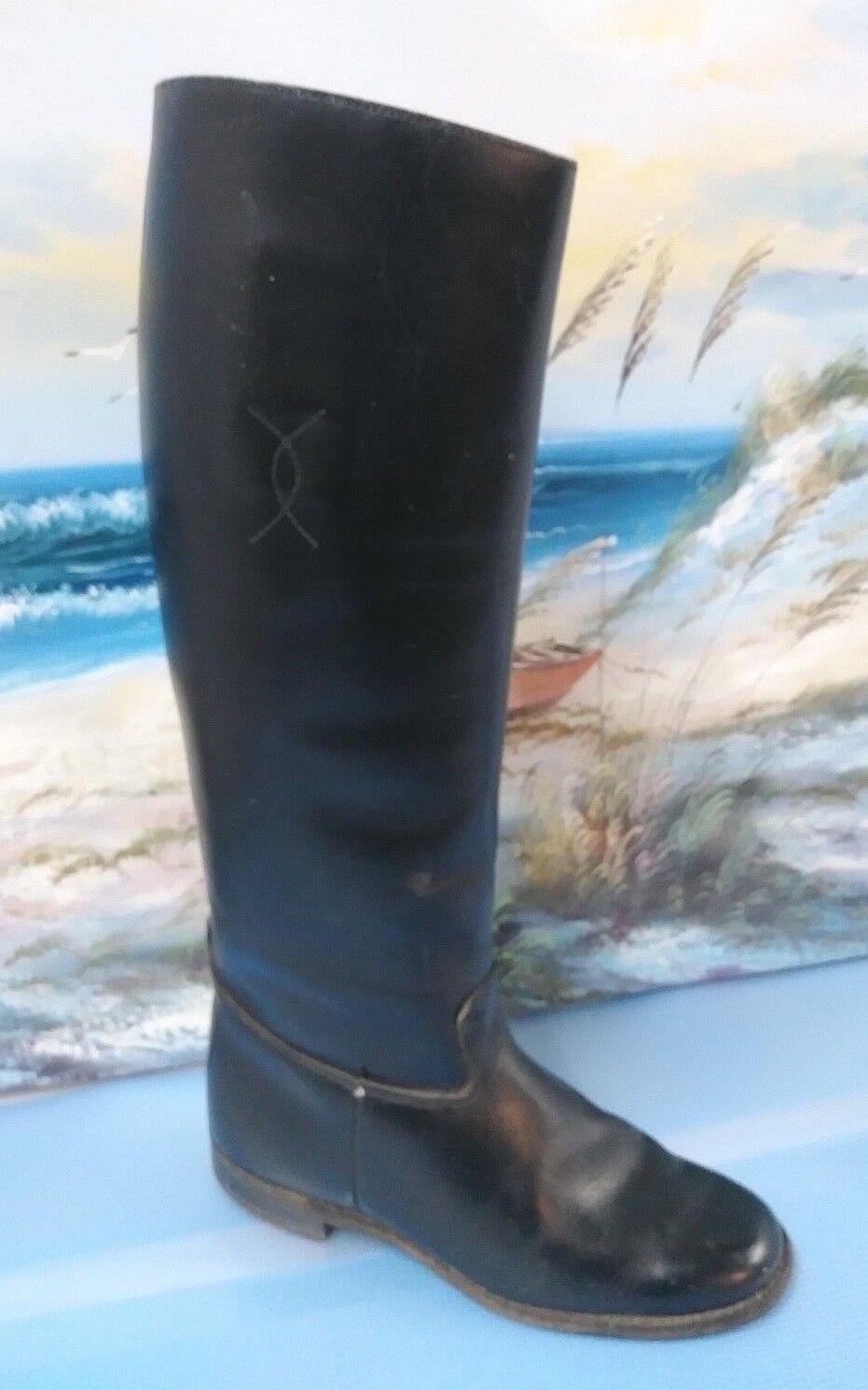 benvenuto a scegliere Vintage nero Leather Tall Equestrian Riding avvio Made Made Made in USA Donna  Dimensione 6 C  produttori fornitura diretta