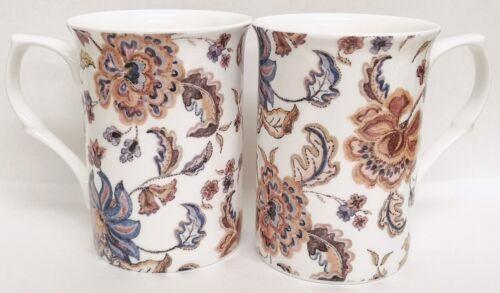 Automne Forever tasses Set 4 Bone China BLEU /& MARRON MOTIF FLORAL tasses Main Décoré UK