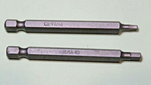 """7//64 et 5//32 Impérial Clé Allen Embouts 75 mm 1//4/"""" Hex Chrome Vanadium"""