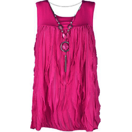 WOMENS LADIES PLUS SIZE FAB FRILLED SLEEVELESS VEST TOP WITH NECKLACE SIZE 12-18
