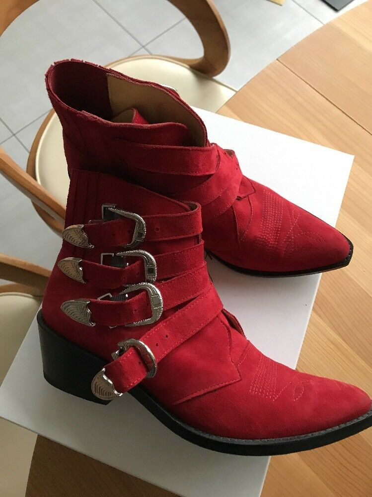 TOGA PULLA Ankle Boots Gr.39 FERRARI Rot ,Neuwertig, BLOGGER❤️ FESTIVAL LOOK