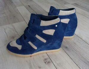 new product 20c72 55216 Details zu Tolle Esprit Damen Schuhe Keil Sneaker Wildleder blau beige Gr.  38 top Zustand!