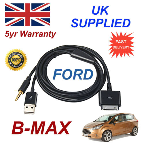 FORD BMAX 1529487 3GS 4 4s iPhone iPod USB /& Aux Cable black