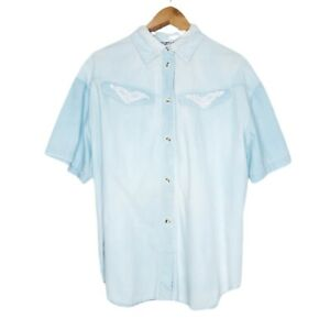 Vintage New Crew Womens Button Up Shirt Size 16 Baby Blue Made In Australia Lace