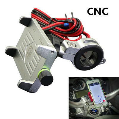 Silver CNC Motorcycle Phone//GPS Navigation Mount Bracket W// USB Charger For BMW