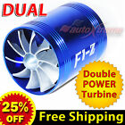 For VOLKSWAGEN Air Intake Dual Fan TURBO Supercharger Turbonator Fuel Saver BLUE