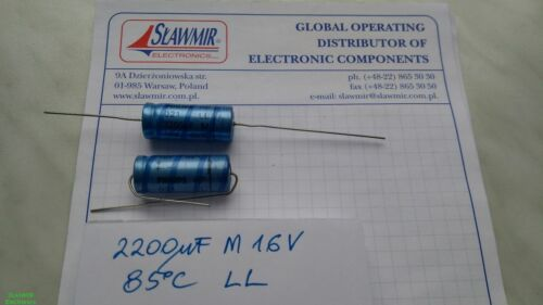Philips 2200uF 16V 10x30 Ll 2222-02135222 Axial Elektrolyt Kondensator Lot-2pcs