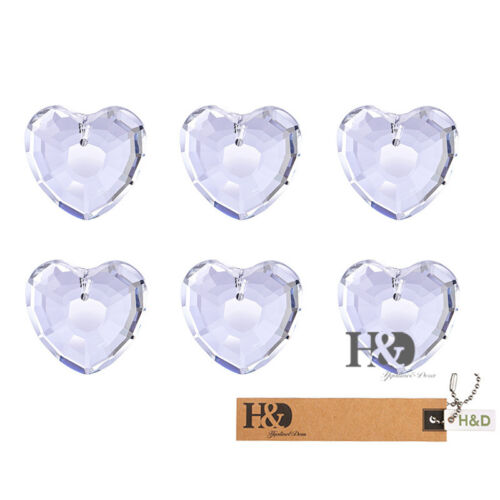10 Clear Love Heart Suncatcher Cut Glass Crystal Lamp Prism Hanging Pendant 38mm