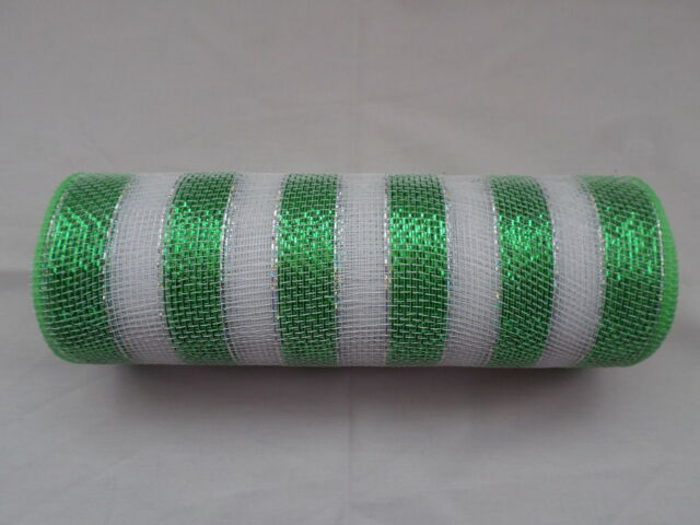 Green and White Striped Deco Mesh 10 inches by 10 yards