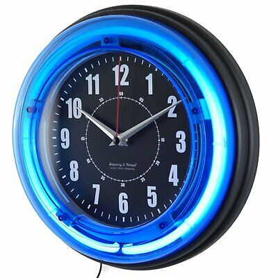 Retro Analog Wall Clock 11 Neon Light Reliable Game Room