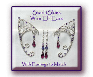 Purple Wire Elf Ears In Sterling Silver Filled With Sterling