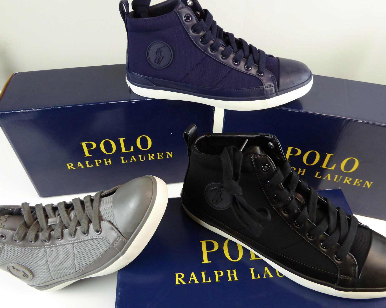 Polo Ralph Lauren Old School Clarke Clarke Clarke High-Top Mesh scarpe da ginnastica scarpe NIB New Hi-Tops 1e6970