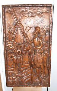 Vintage-Carved-Don-Quixote-amp-Sancho-Panza-Wood-Panel-Frieze