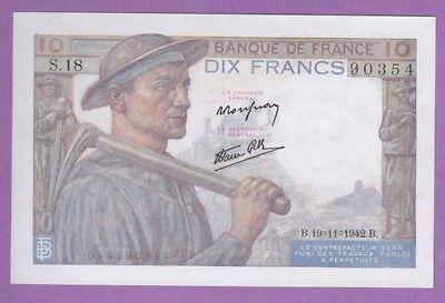 (ref: S.18) 10 Francs Mineur 19/11/1942. (neuf) Bevorder De Productie Van Lichaamsvloeistof En Speeksel