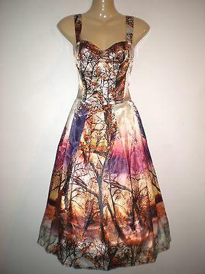 NEW VINTAGE 50'S STYLE AUTUMN FOREST PRINT ROCKABILLY PARTY DRESS SIZE 10