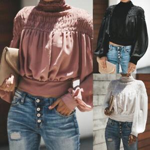 Women-Fashion-Solid-Blouse-Turtleneck-Ruched-Lantern-Long-Sleeve-Shirt-Loose-Top