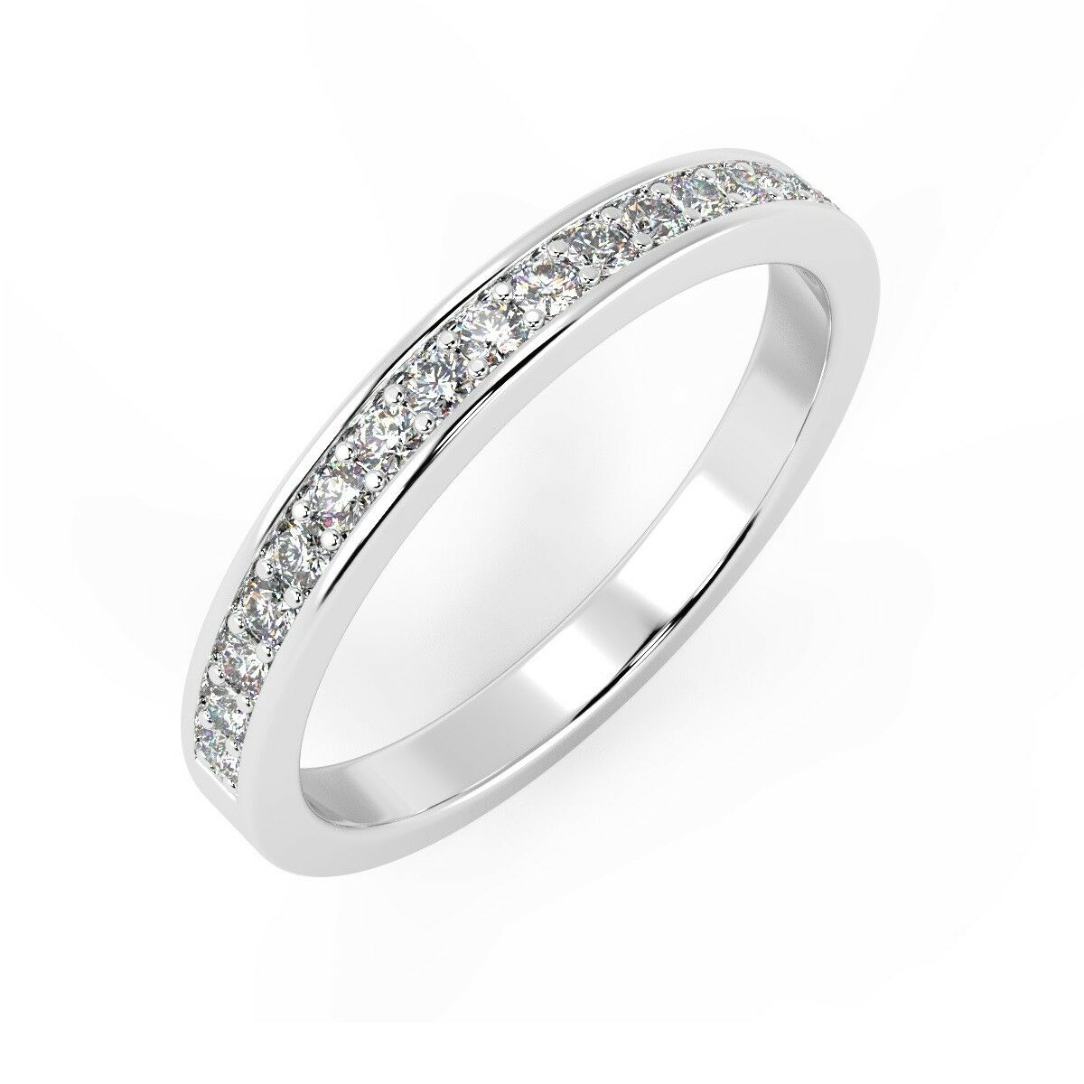 F VS 0.50 Ct Round Diamond Pave Set Half Eternity Ring, UK Hallmarked Platinum