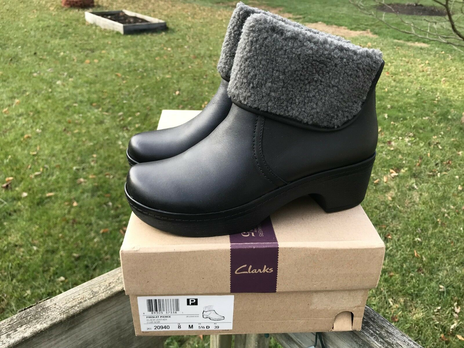 Clarks Preslet Pierce Mujer Negro botas De Gamuza Piel Piel Piel 26120940  perfecto