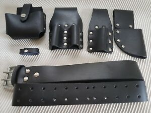 Scaffolding-Black-leather-Tool-work-Belt-Full-Tools-Set-Frog-4-Pouch-Pockets
