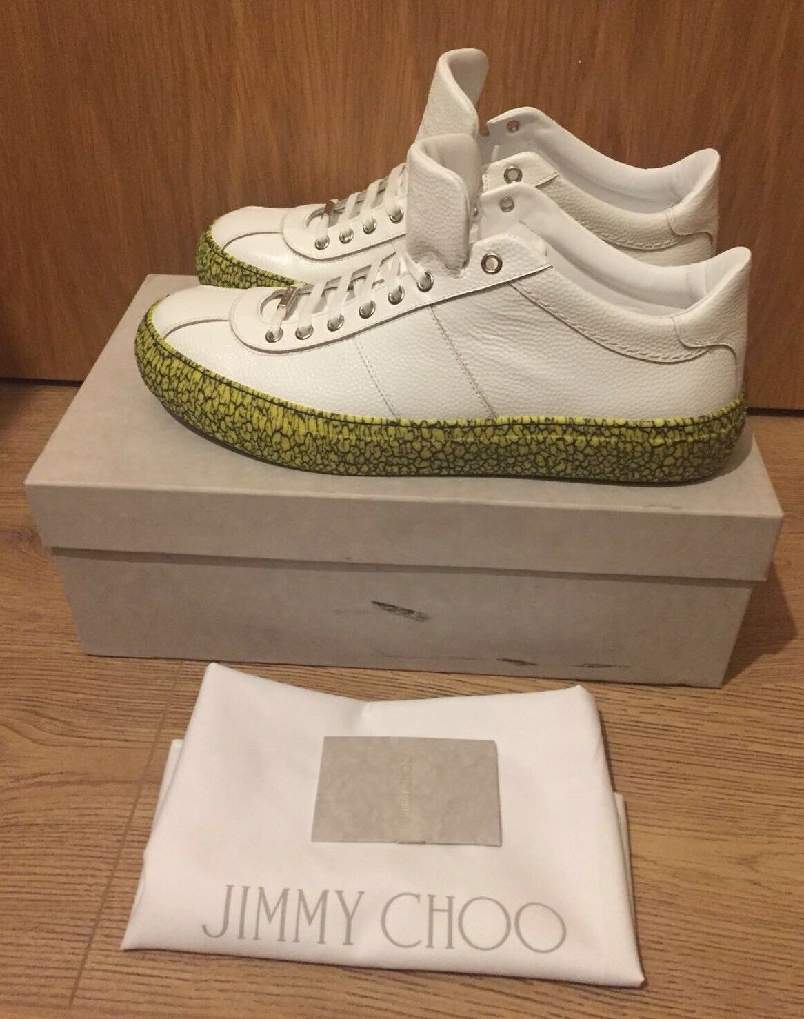 Jimmy Choo White Portman Embossed Leather Trainers UK10 RRP