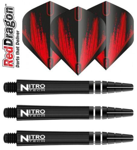 Red Dragon NitroTech Black Shafts Red Dragon Flights Hardcore F6442