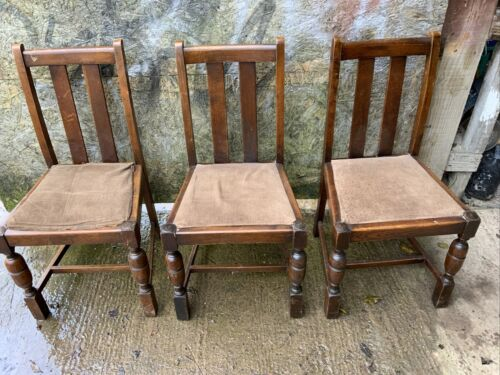 Set Of 3 Wooden Dining Chairs Need Re Upholstering But Good Solid Chairs