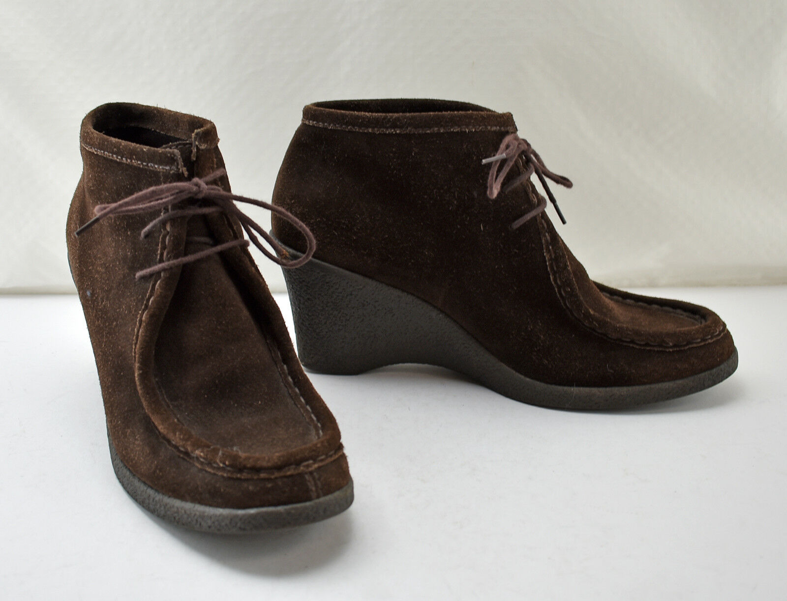 Banana Republic Brown Suede Leather Wedge Heel Lace-Up Booties - Women's 9.5 M