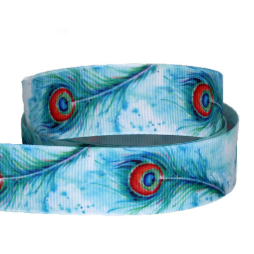 """5//10yards Blue Grosgrain Ribbon 7//8/""""  Peacock feather Printed"""