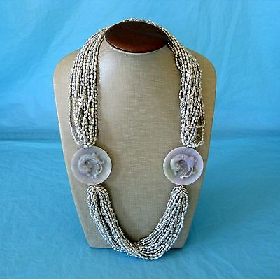 Chinese Chilong Dragon Carved Jade Disk Multi Strand Freshwater Pearl Necklace