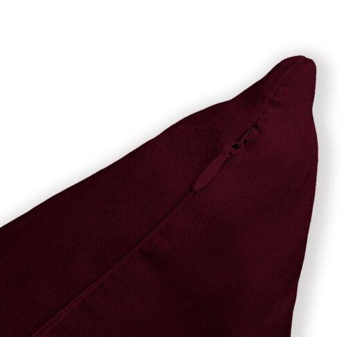 Mf55a Bourgogne lisse doux soyeux Velours Coussin Housse//taie d/'oreiller taille personnalisée