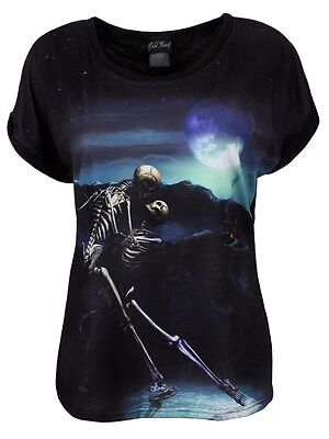Cold Heart Timeless Tango Squelette Amoureux Baggy Top Biker Goth Tattoo New 8-16