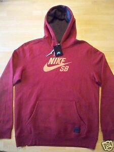 547288-677 New with tag Nike Men's SB Icon pull over Hoodie DEEP RED