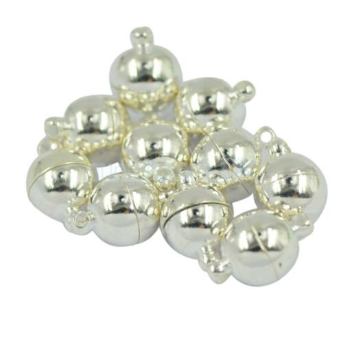 10 Sets Silver Tone Round Ball Strong Magnetic Clasp 10mm For Jewelry Making