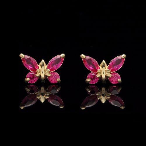0.40tcw Created Ruby Butterfly Earrings Solid 14k Yellow Gold Screwback Studs