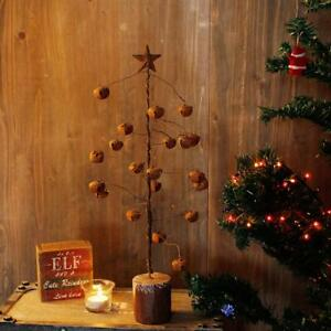 Details About Rustic Jingle Bell Ornament Tabletop Christmas Tree With Metal Star Tree Topper
