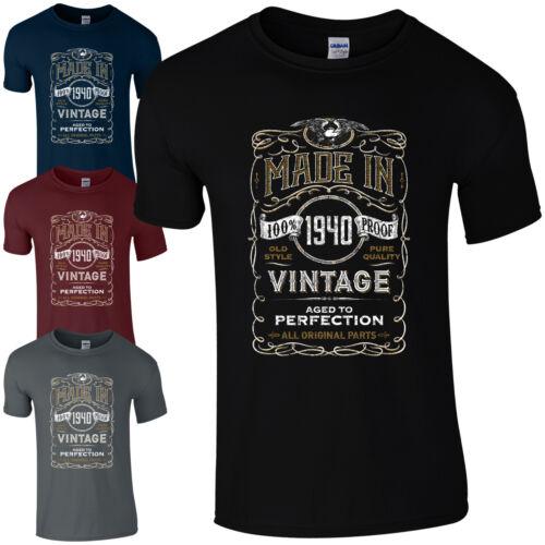 MADE IN 1940 T-shirt Born 79th année anniversaire âge présent Vintage Drôle Pour Homme Cadeau
