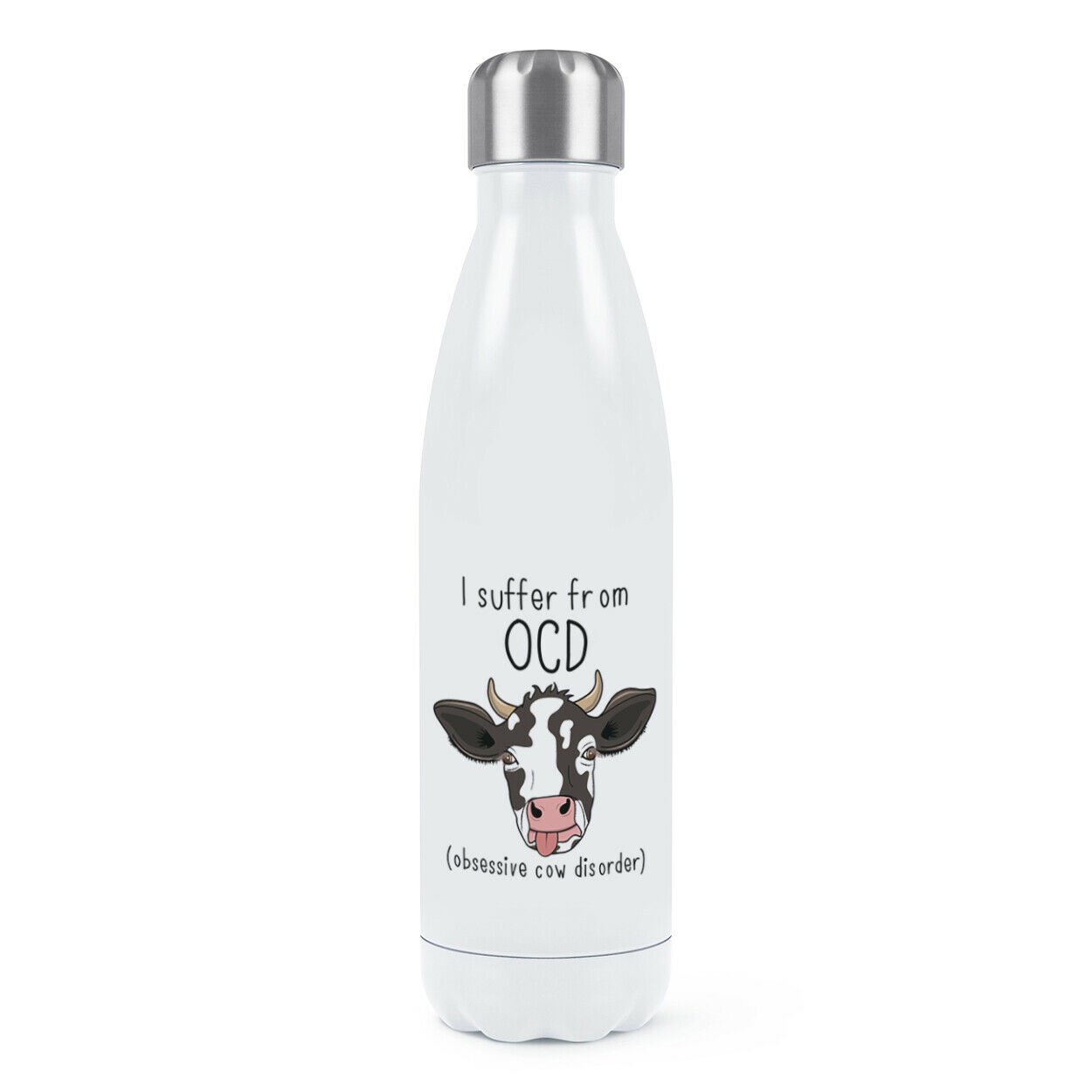 Cow OCD Double Wall Water Bottle Funny Joke Obsessive Cow Disorder