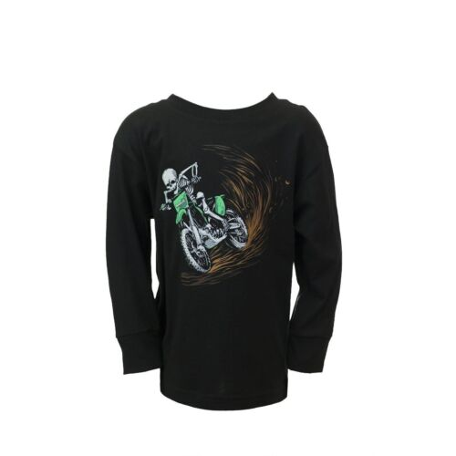 Motorider Youth Long Sleeve Tshirt Humboldt Clothing Co Tee Dirt Biker Skull Boy