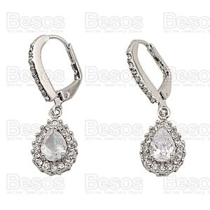 Image Is Loading Cubic Zirconia Earrings Crystal White Gold Silver Tone