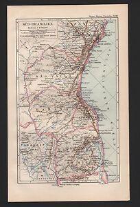 Landkarte Map 1892 Sud Brasilien Rio Grande Santa Catharina Sao