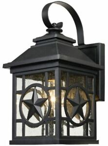 Details About 14 Outdoor Western Wall Lantern Texas Ranger Star Seeded Gl Lighting Fixture
