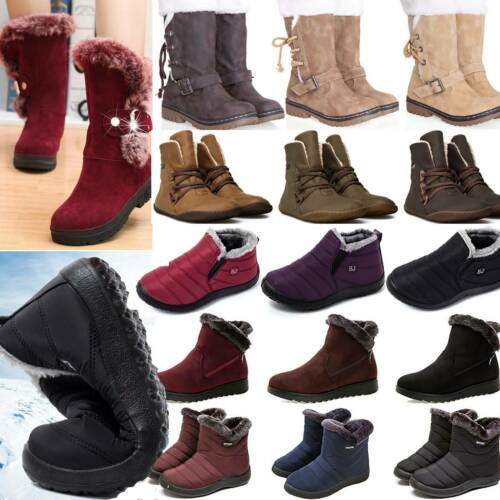 Womens Winter Ski Snow Ankle Boots Combat Flat Grip Sole Fur Lined Booties Shoes
