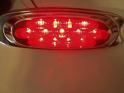 Partsam 2 Clear//Red 6-1//2 Led Light Oval Marker Clearance Light Chrome Trim Ring Sealed