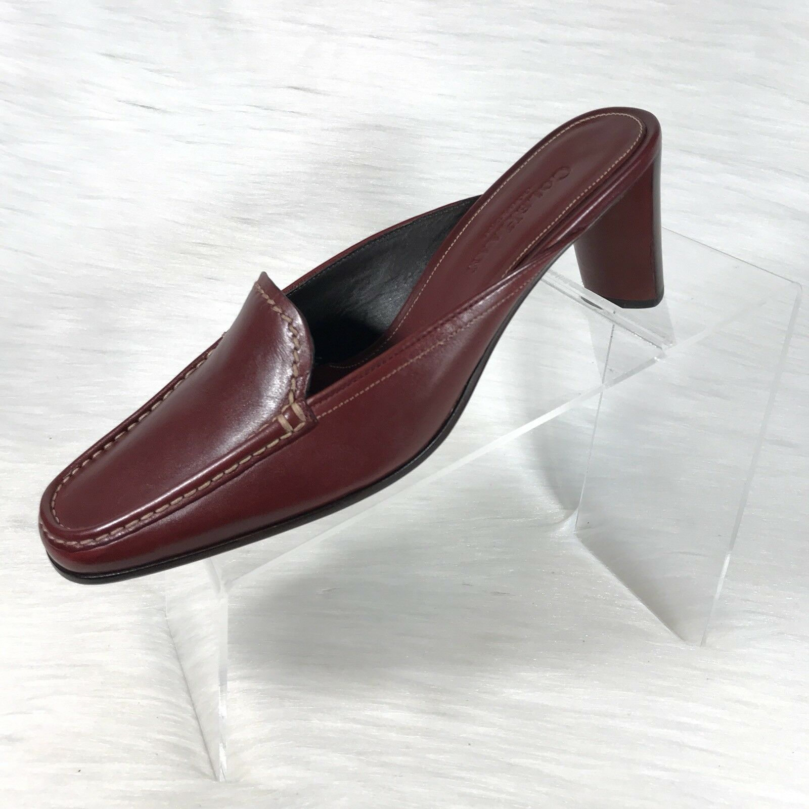 Cole Haan country Women's Mules Red leather Moc Toe Loafers Low Heel Size 7.5 B