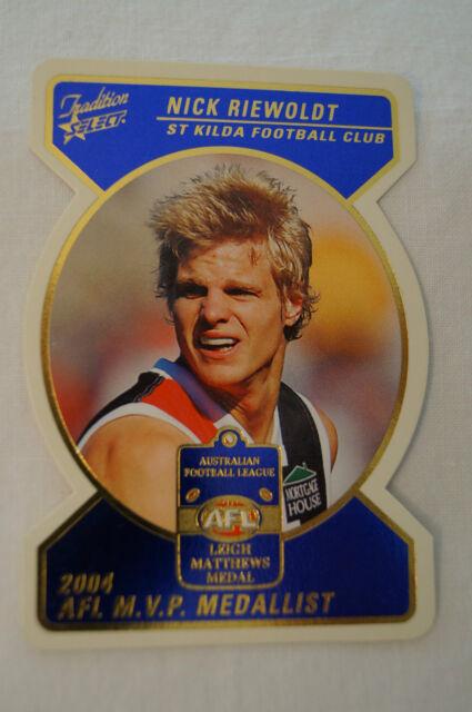 ST.KILDA - Medal Card - Nick Riewoldt - Die Cut - Leigh Matthews Medal - M.V.P.