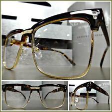 Men's CLASSIC VINTAGE RETRO Style Clear Lens EYE GLASSES Tortoise & Gold Frame
